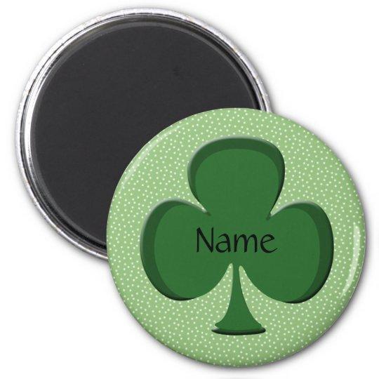 Shamrock Name Round Magnet Template - Irish Green