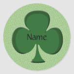 Shamrock Name Sticker Template - Irish Green