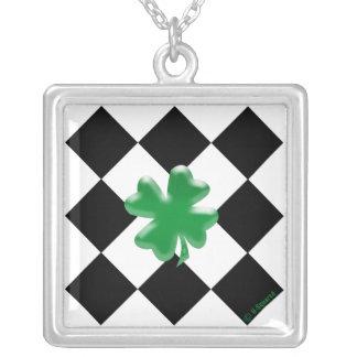 Shamrock Square Pendant Necklace