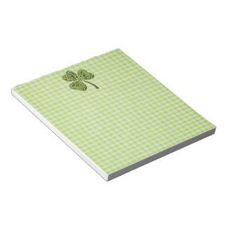 Shamrock on Green Gingham Notepad