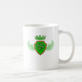 Shamrock on Shield with Wings and Crown Coffee Mug
