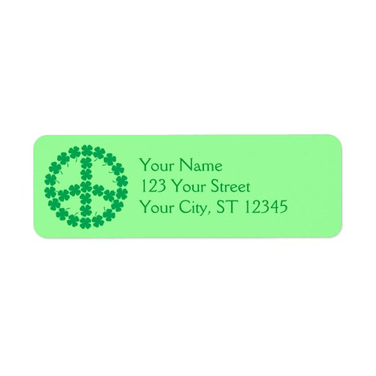 Shamrock Peace Sign Label