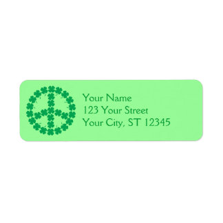 Shamrock Peace Sign Label Return Address Label