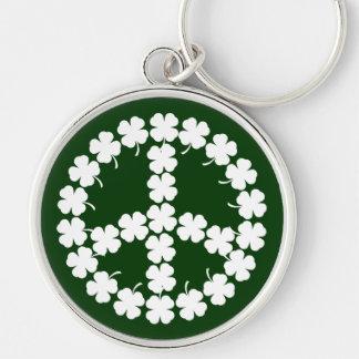 Shamrock Peace Symbol Keychain