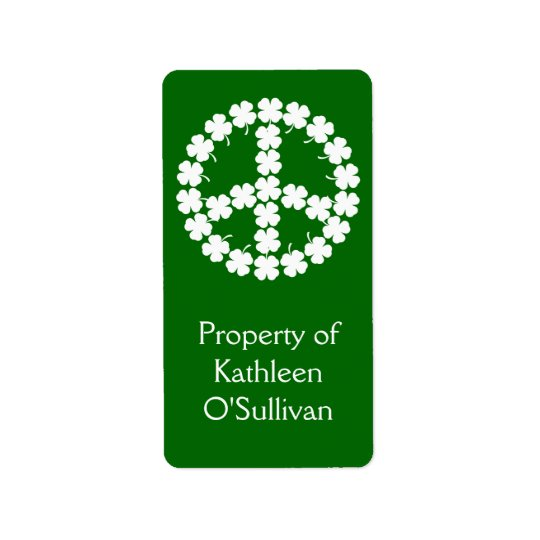 Shamrock Peace Symbol Label