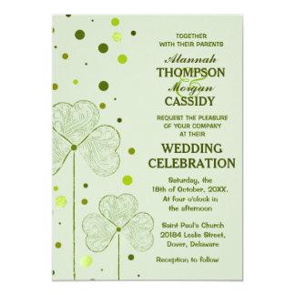 Shamrock Polka Dots Wedding Invitation 2