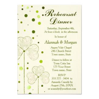 Shamrock Polka Dots Wedding Rehearsal Dinner Card
