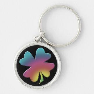Shamrock Rainbow on Black Silver-Colored Round Key Ring