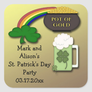 Shamrock Rainbow St. Paddy's Day Party Favor Square Sticker