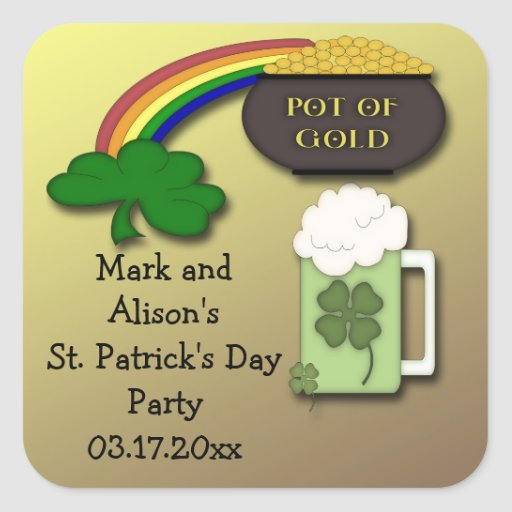 Shamrock Rainbow St. Paddy's Day Party Favor Square Stickers
