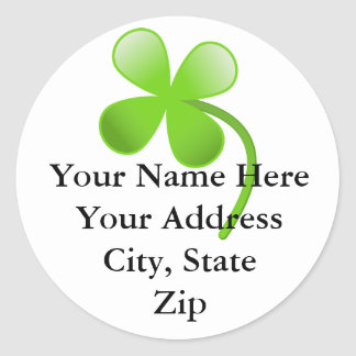 Shamrock Return Address Lable Classic Round Sticker