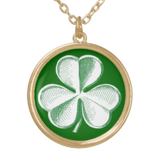 Shamrock Sketch Gold Plated Necklace