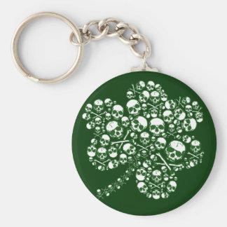 Shamrock Skulls Basic Round Button Key Ring
