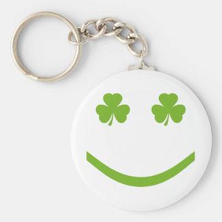 shamrock smile basic round button key ring