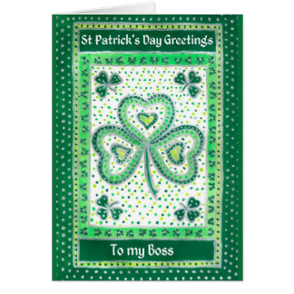 Shamrock St Patrick's Day Card for a Boss