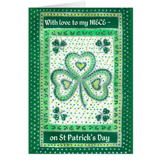 Shamrock St Patrick's Day Card for a Niece