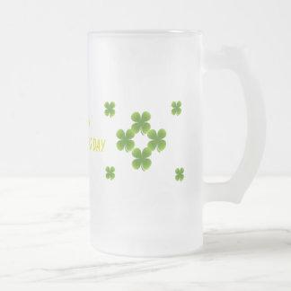 Shamrock St Patrick's Day Frosted Glass Mug