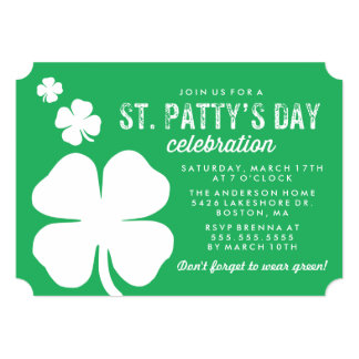Shamrock St. Patty's Day Celebration 13 Cm X 18 Cm Invitation Card