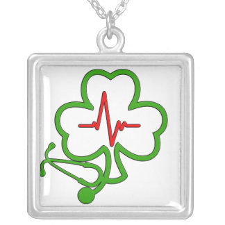 SHAMROCK STETHOSCOPE WITH HEARTBEAT SILVER PLATED NECKLACE