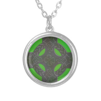 Shamrock Stone Celtic Cross on Green Silver Plated Necklace