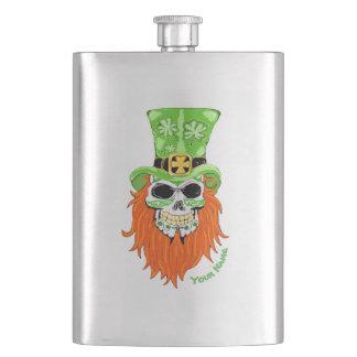 Shamrock Sugar Skull Hip Flask