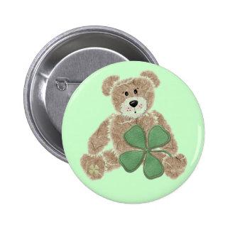 Shamrock teddy bear St. Patrick's day button