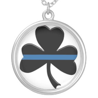 Shamrock Thin Blue Line Necklace