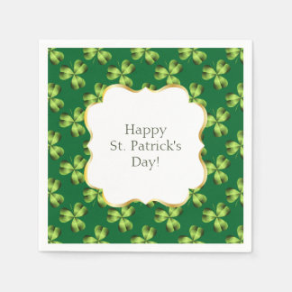 Shamrock Three Leaf Clover Graphic Disposable Napkins
