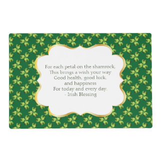 Shamrock Three Leaf Clover Graphic Laminated Placemat
