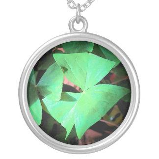 Shamrock Trinity Round Pendant Necklace