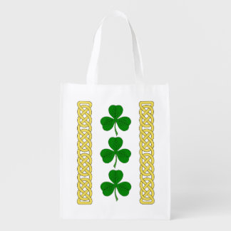 Shamrock Trio and Knotwork Bands Reusable Grocery Bag