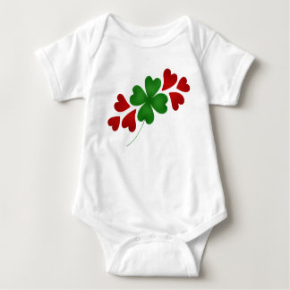 Shamrock with hearts baby bodysuit
