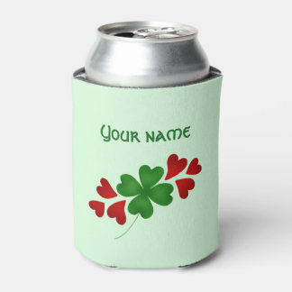Shamrock with hearts can cooler