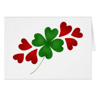 Shamrock with hearts card