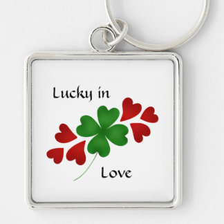 Shamrock with hearts, Lucky in Love Silver-Colored Square Key Ring