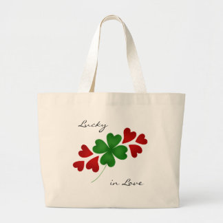 Shamrock with hearts Lucky in Love Large Tote Bag
