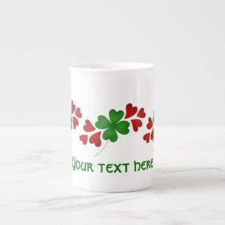 Shamrock with hearts porcelain mug