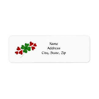 Shamrock with hearts return address label