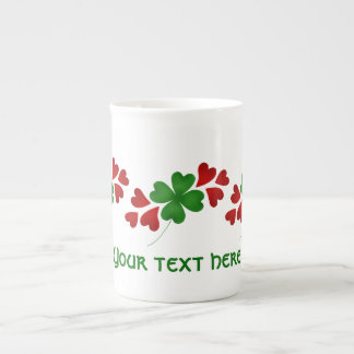 Shamrock with hearts St Patricks Day Bone China Mug