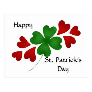 Shamrock with hearts St Patricks Day Postcard