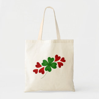 Shamrock with hearts tote bag