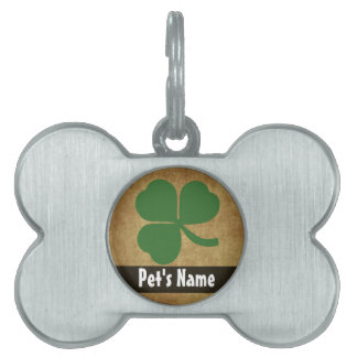 Shamrock with Vintage Gold Pet ID Tag