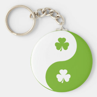shamrock ying yang basic round button key ring