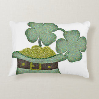 shamrocks and a hatful of gold for Saint Patricks Decorative Cushion