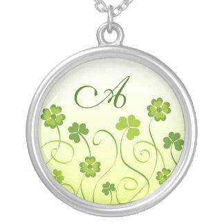 Shamrocks and clovers round pendant necklace