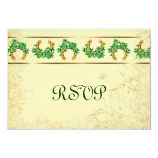 Shamrocks and Gold Irish RSVP Card