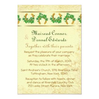 Shamrocks and Gold Irish Wedding Card