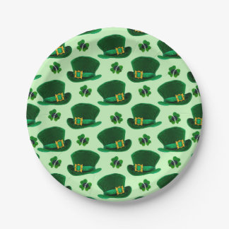 Shamrocks and Leprechaun Hats Paper Plate