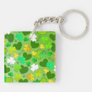 Shamrocks and St. Patrick's Day Hearts Keychain