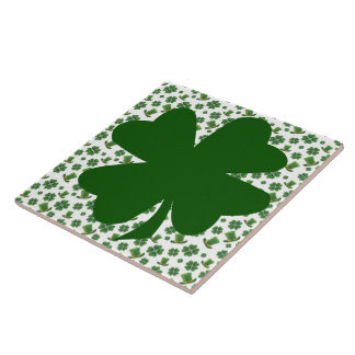 Shamrocks and Top Hats 3 Ceramic Tile